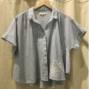 Madewell Striped Shirt w/Embroidery, Large